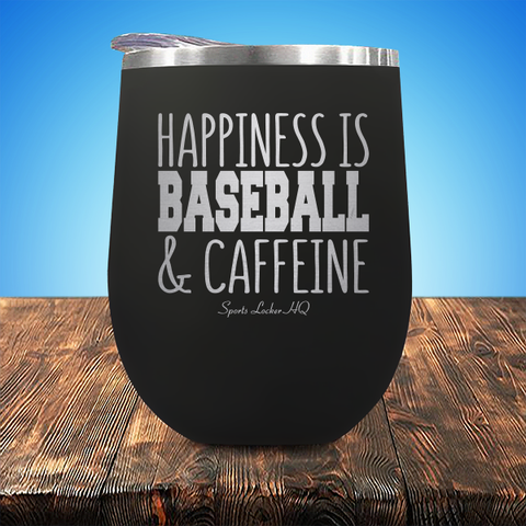 Happiness Is Baseball & Caffeine Stemless Wine Cup JA1288
