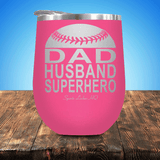 Baseball/Softball Dad Husband Superhero Stemless Wine Cup