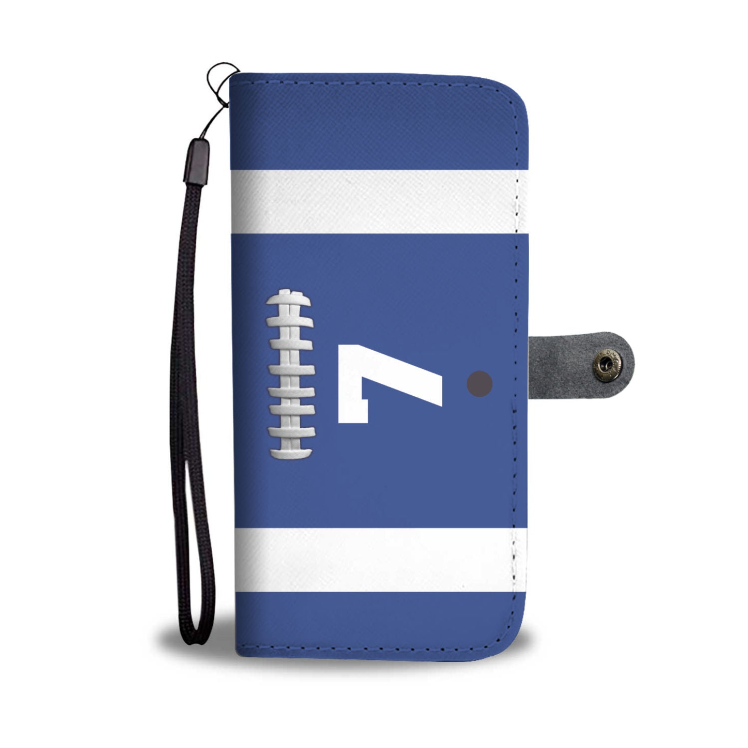 Football Blue Player # (CUSTOM) Wallet Phone Case