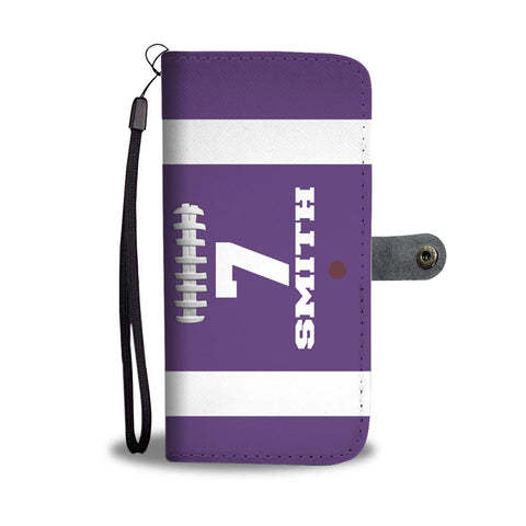 Football Purple Player #/Name (CUSTOM) Wallet Phone Case