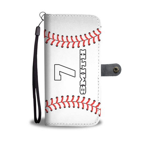 Baseball (Original) Player #/Name (CUSTOM) Wallet Phone Case