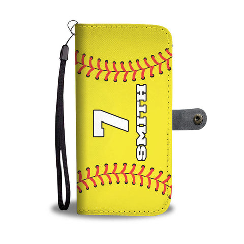 Softball (Original) Player #/Name (CUSTOM) Wallet Phone Case