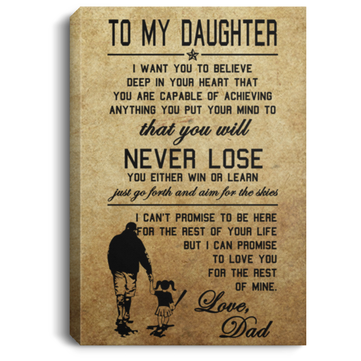 To My Daughter Softball Canvas Wall Art JACA1008