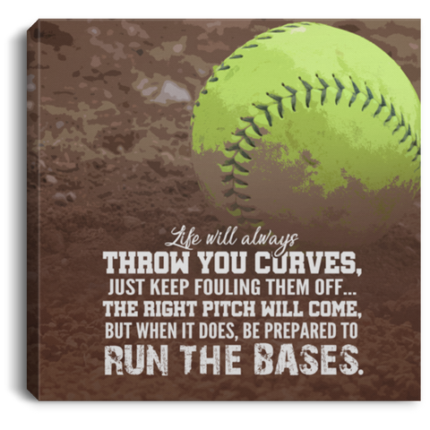 Run The Bases Softball Canvas Wall Art ALCA1058