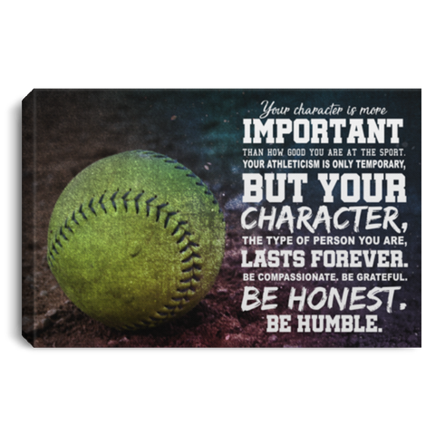 Character Is More Important Softball Canvas Wall Art ALCA1031