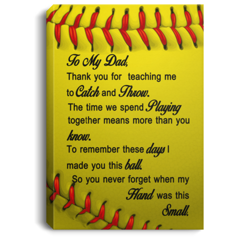 To My Dad Softball Canvas Wall Art JACA1012