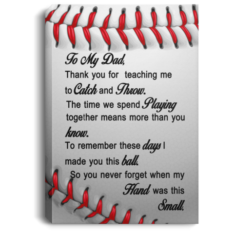 To My Dad Baseball Canvas Wall Art JACA1011
