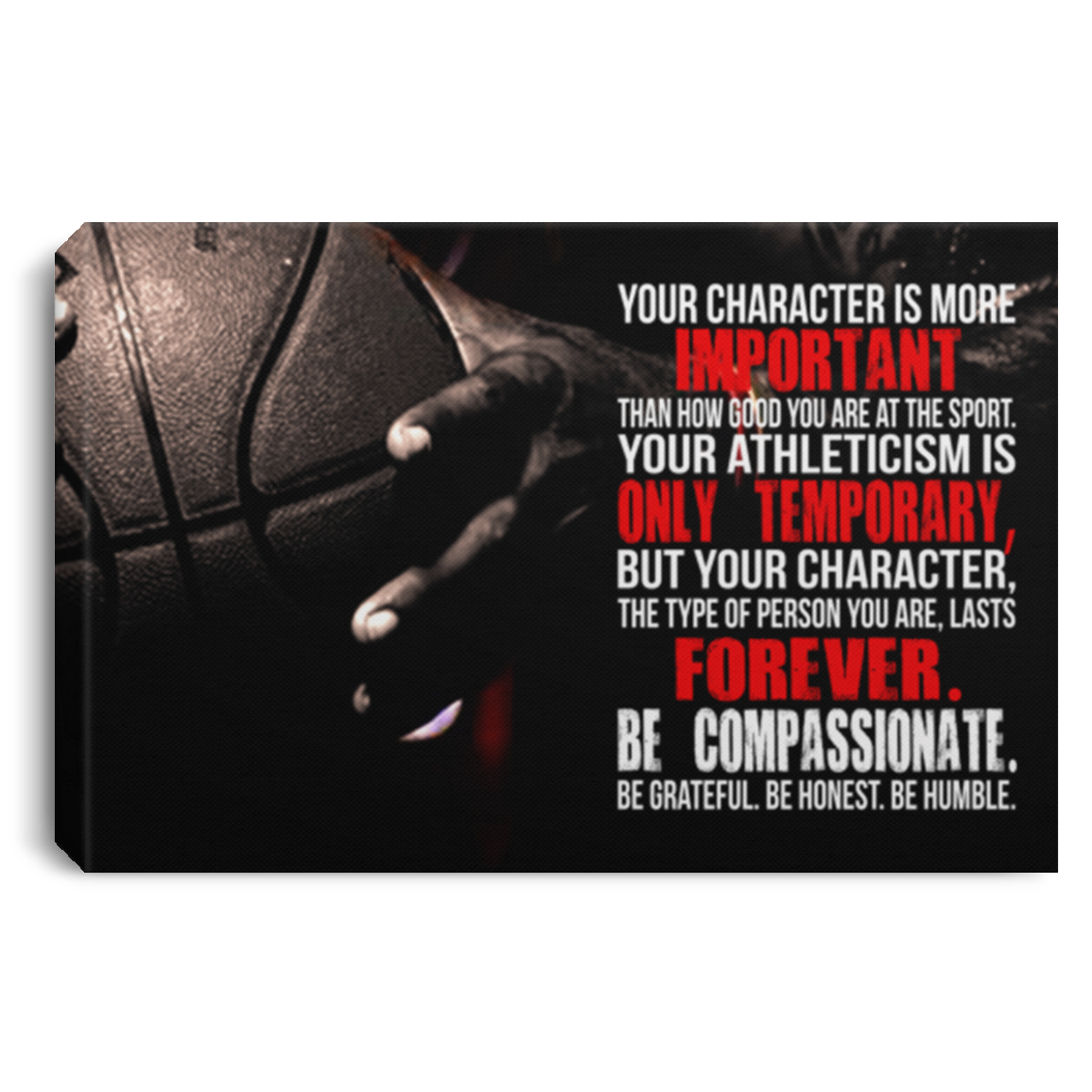 Your Character Is More Important Basketball Canvas Wall Art JACA1028