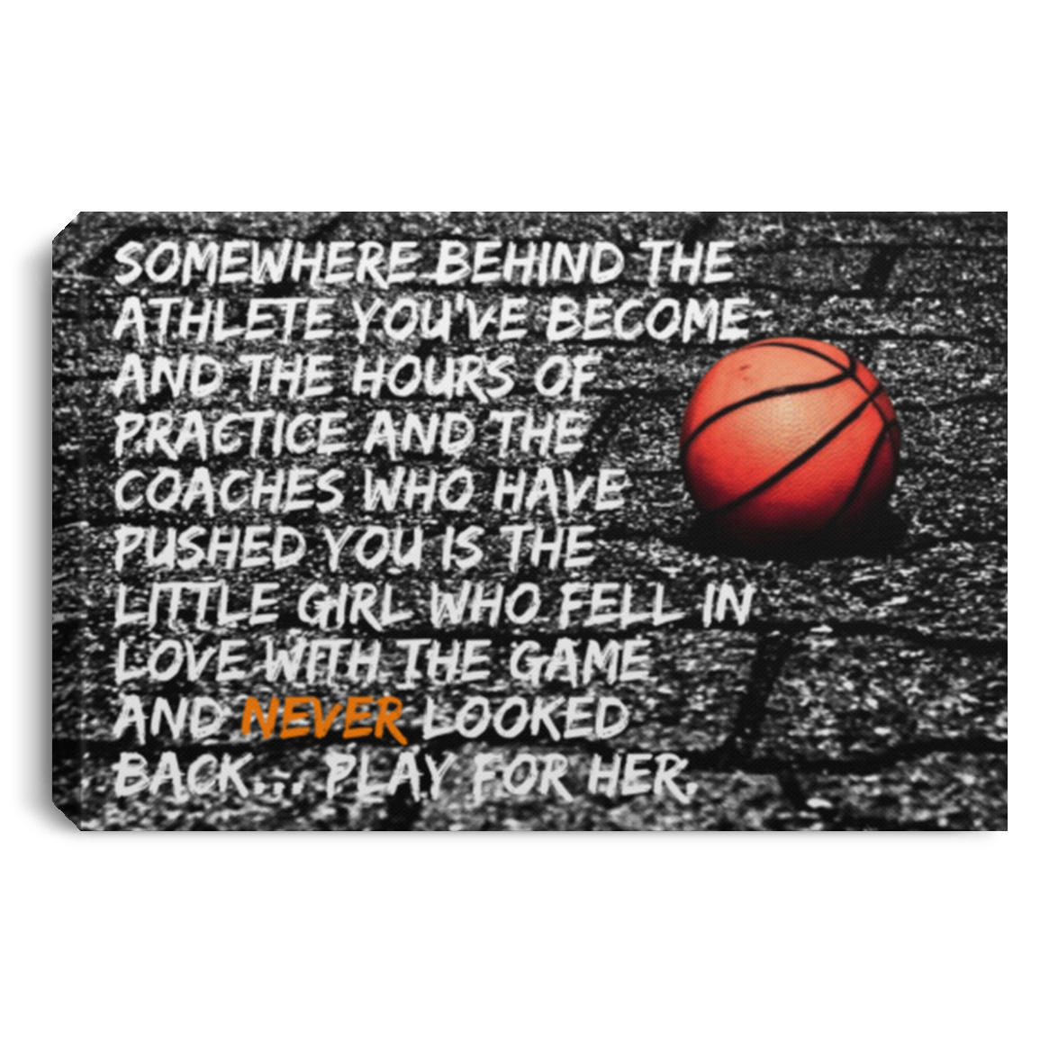 Play For Her Basketball Canvas Wall Art JACA1033