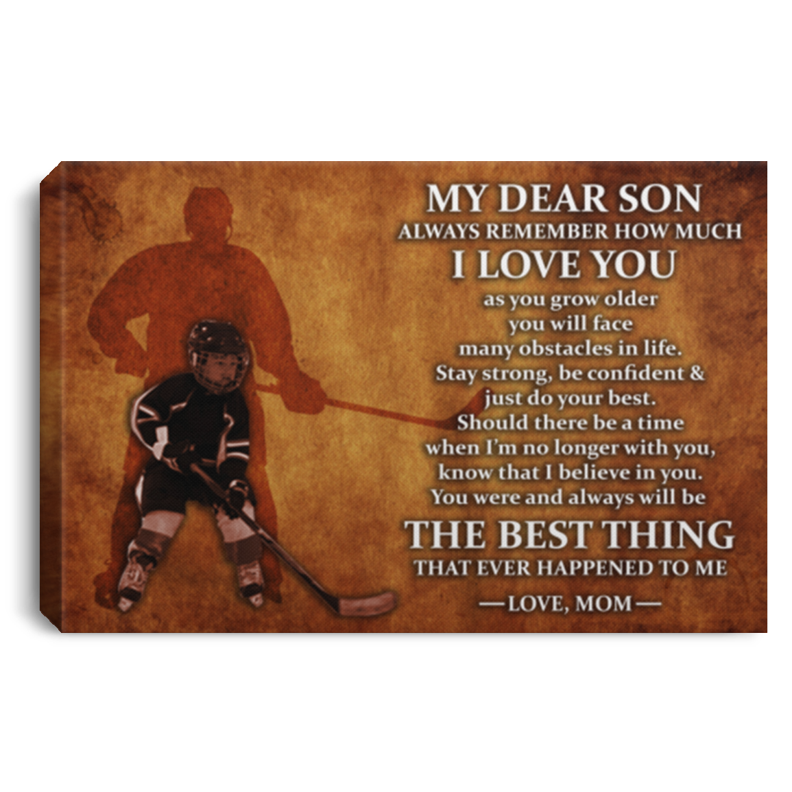 Hockey Dear Son Love Mom Canvas Wall Art SACA1035