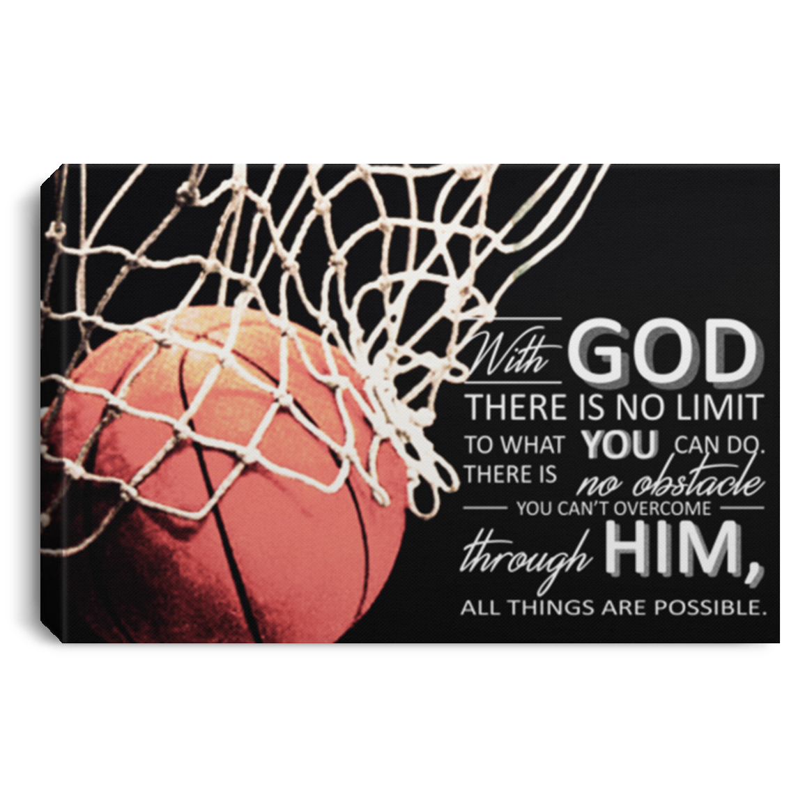 All Things Are Possible Basketball Canvas Wall Art JACA1024