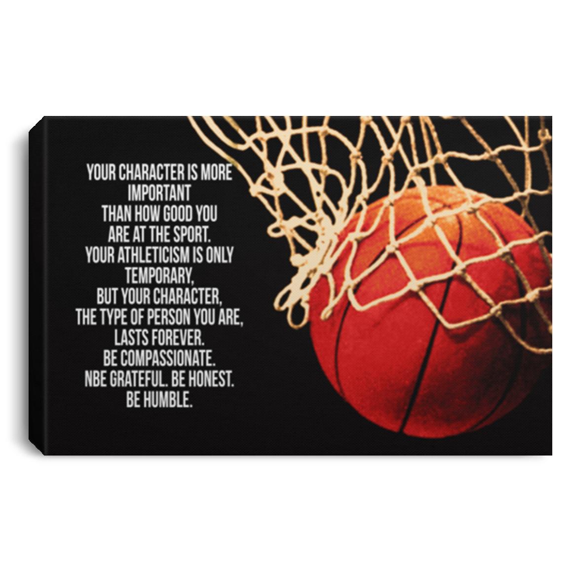 Your Character Is More Important Basketball Canvas Wall Art JACA1029