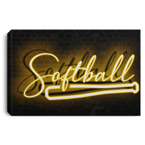 Softball Neon Light Effect Canvas Wall Art JACA1034