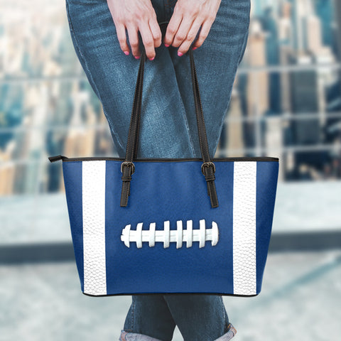 Football Navy Blue Leather Handbag