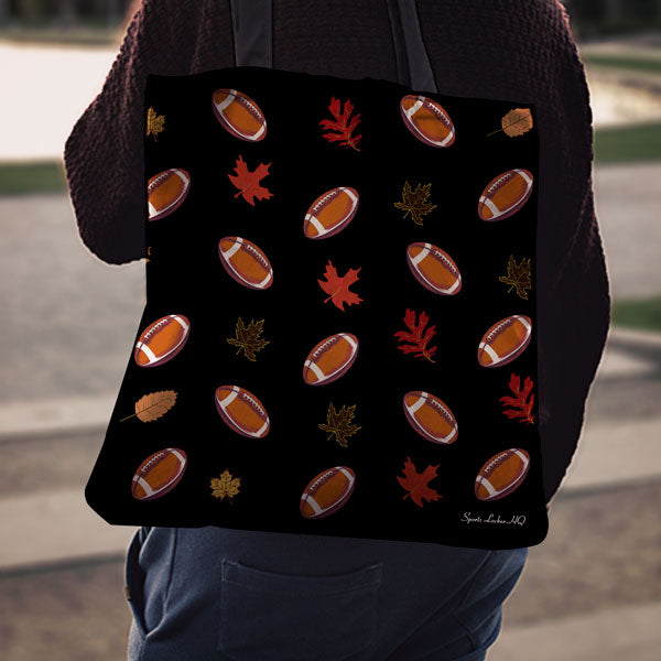 Football Autumn Leaves Pattern Linen Tote Bag EV78
