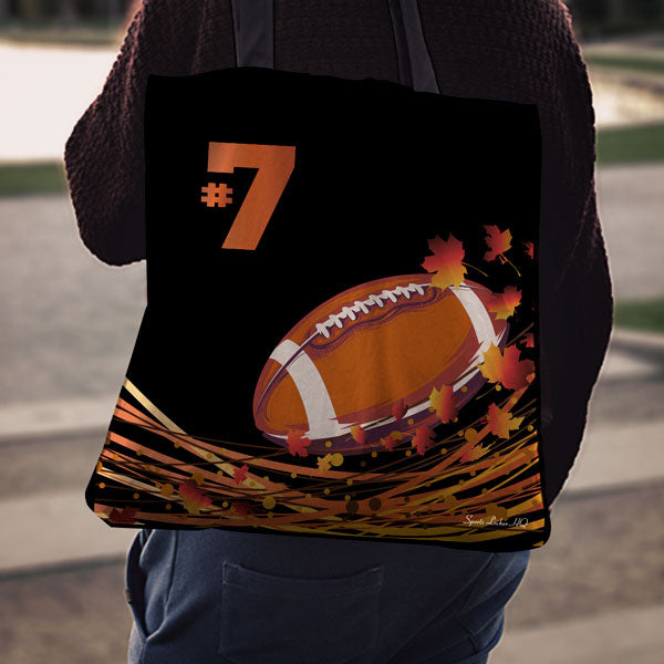 Football Autumn Leaves Pattern #7 Linen Tote Bag EV76