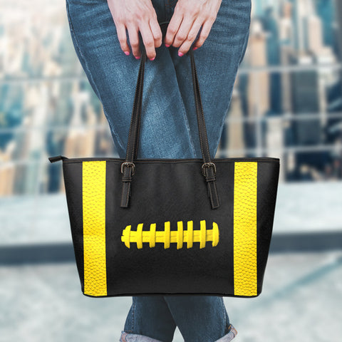Football Black With Gold Leather Handbag