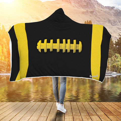 Football Black With Gold Premium Hooded Blanket