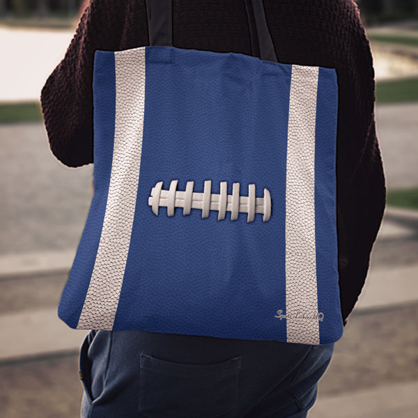 Football Blue Linen Tote Bag