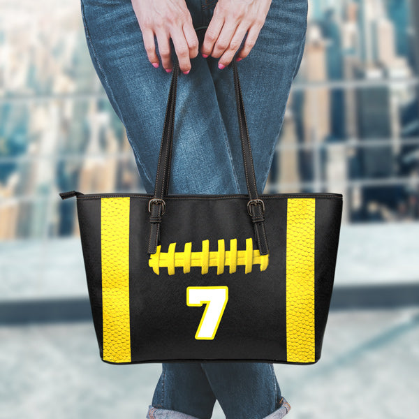 Football Black With Gold 7 Leather Handbag