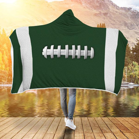 Football Green Premium Hooded Blanket