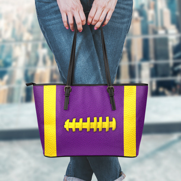 Football Purple With Gold Leather Handbag