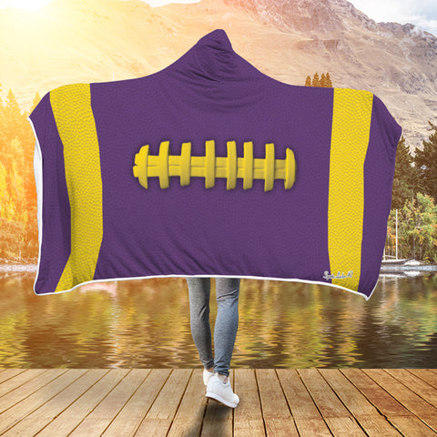 Football Purple With Gold Premium Hooded Blanket