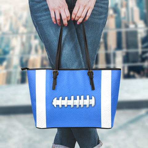 Football Royal Blue Leather Handbag
