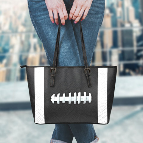 Football Black Leather Handbag
