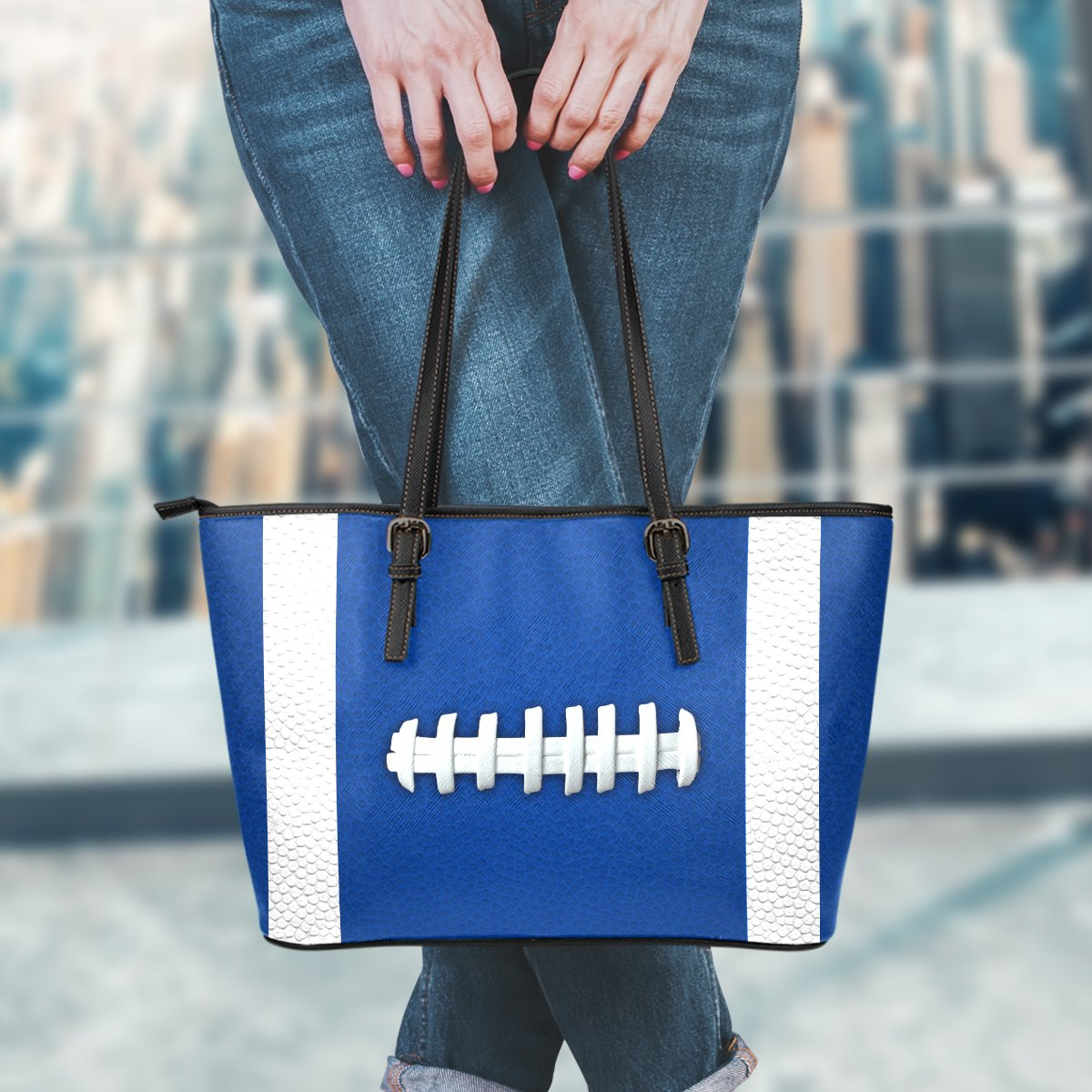 Football Blue Leather Handbag