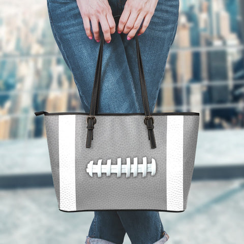 Football Gray Leather Handbag