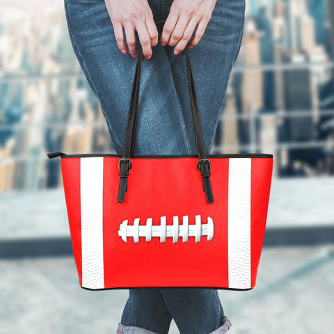 Football Light Red Leather Handbag