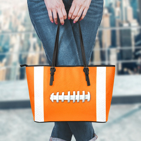 Football Orange Leather Handbag