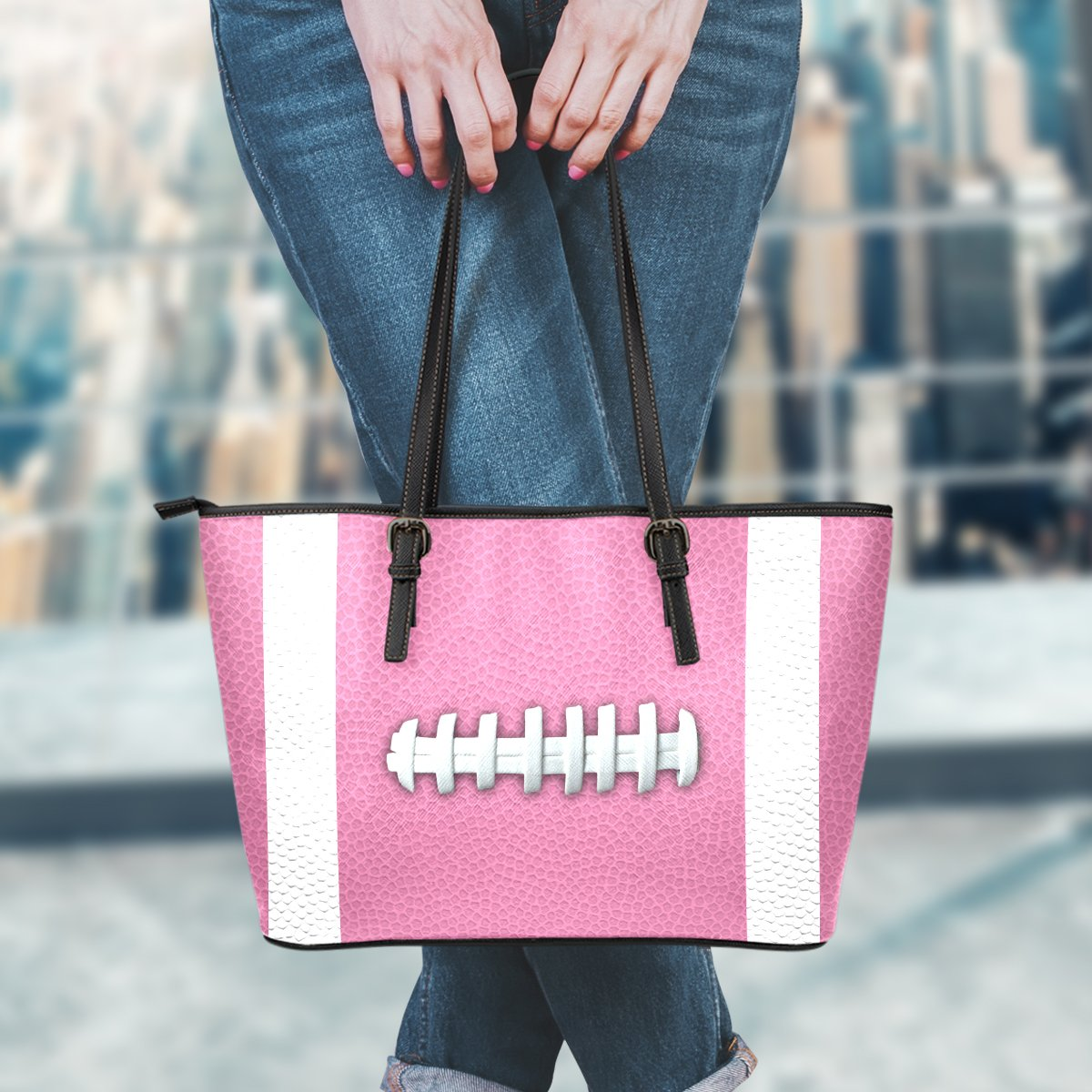 Football Pink Leather Handbag