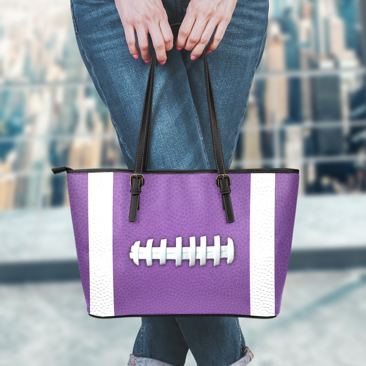 Football Purple Leather Handbag