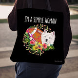 Football Terrier Simple Woman Linen Tote Bag EV68
