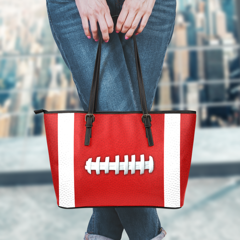 Football Crimson Red Leather Handbag