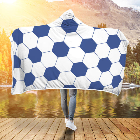 Soccer Blue Premium Hooded Blanket