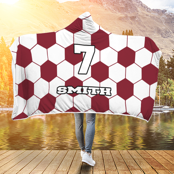 Soccer Burgundy Player #/Name (CUSTOM) Premium Hooded Blanket