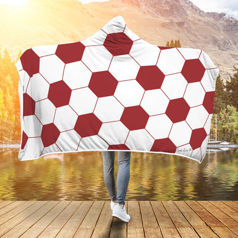 Soccer Crimson Red Premium Hooded Blanket