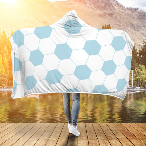 Soccer Light Blue Premium Hooded Blanket