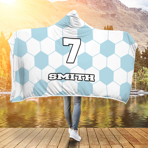 Soccer Light Blue Player #/Name (CUSTOM) Premium Hooded Blanket