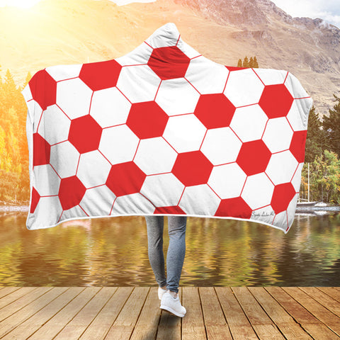 Soccer Light Red Premium Hooded Blanket