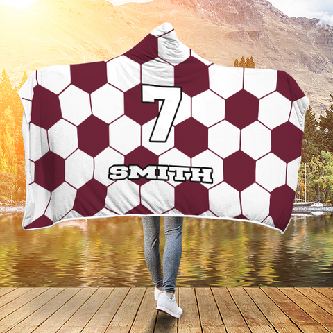 Soccer Maroon Player #/Name (CUSTOM) Premium Hooded Blanket