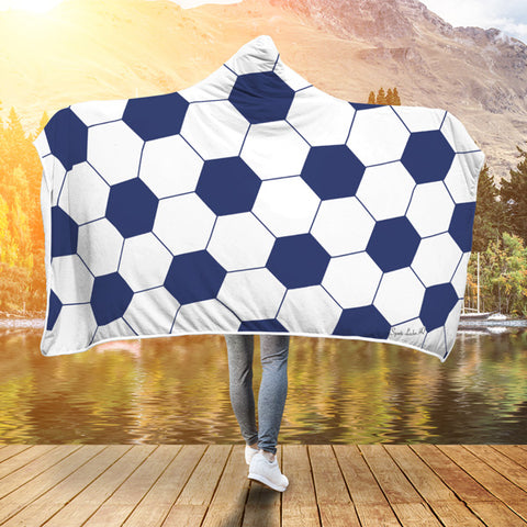 Soccer Navy Blue Premium Hooded Blanket