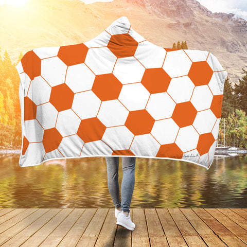 Soccer Orange Premium Hooded Blanket