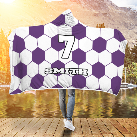 Soccer Purple Player #/Name (CUSTOM) Premium Hooded Blanket