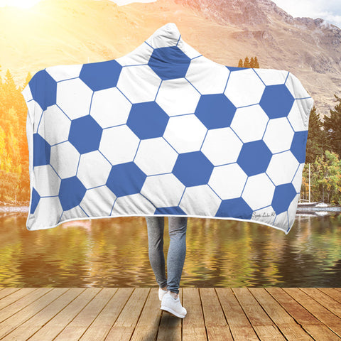 Soccer Royal Blue Premium Hooded Blanket