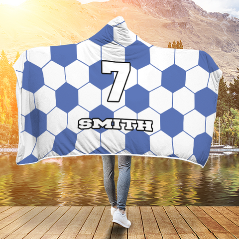 Soccer Royal Blue Player #/Name (CUSTOM) Premium Hooded Blanket