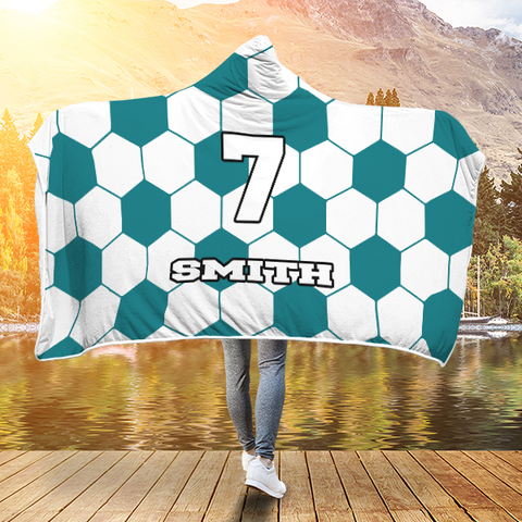 Soccer Teal Player #/Name (CUSTOM) Premium Hooded Blanket